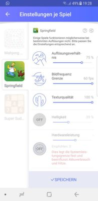 Öffne den Samsung Game Launcher und lege die Einstellungen fest