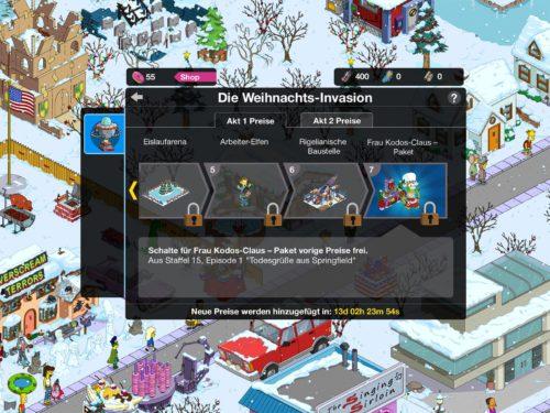 Übersicht über die Preise des Simpsons Springfield Events Winter zu Akt 1