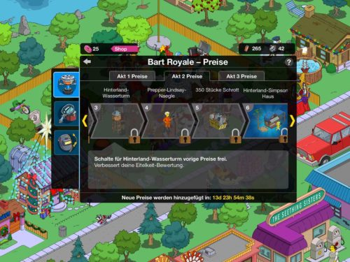 Preise in Akt 2 des Simpsons Springfield Event Bart Royale