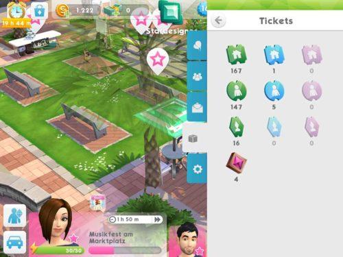 EIne Übersicht über deine aktuell verfügbaren Tickets findest du bei Sims Mobile im rechten Menü