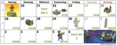 Kalender für Akt 1 - Soviele Bilder musst du im Jobs Event sammeln, um alle Preise freizuschalten