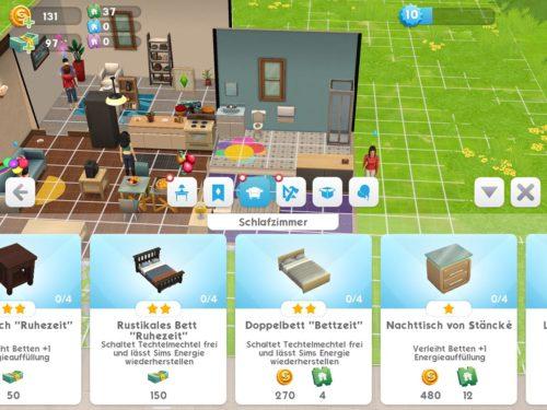 Schalte das Doppelbett in Die Sims Mobile frei