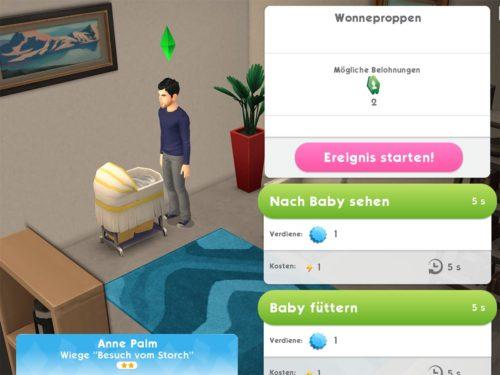 Tippe die Wiege in Sims Mobile an, um das erste Ereignis mit deinem Baby zu starten