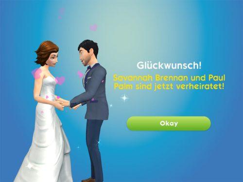 Der letzte Schritt in der Beziehung ist die Heirat - ob diese notwendig ist, um ein Baby in Sims Mobile zu bekommen, kann ich nicht sagen