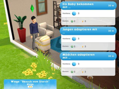Tippe auf die Wiege und entscheide dich, ob du ein Baby mit einem anderen Sim machen willst oder ob du dich für die Adoption entscheidest