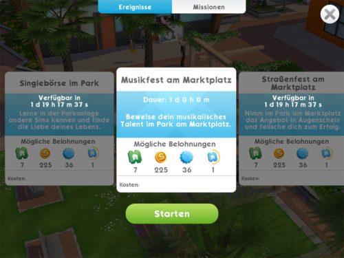 Unter Missionen und oben Ereignisse werden dir alle besonderen Ereignisse in Sims Mobile angezeigt