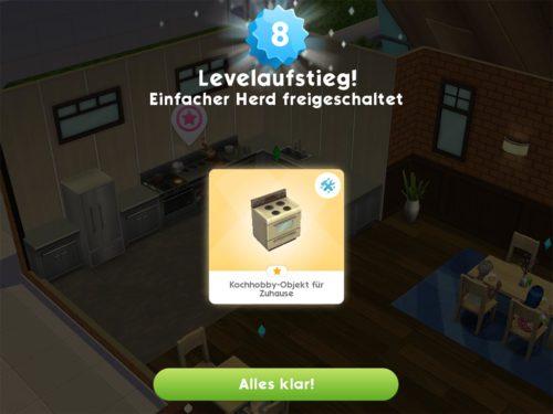 Mit Level 8 wird dann der erste Hobby-Gegenstand freigeschaltet, den du in Sims Mobile bauen kannst