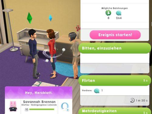 """Tippe auf den Ehepartner des Sims und dort gibt es den Punkt """"Bitten einzuziehen"""""""