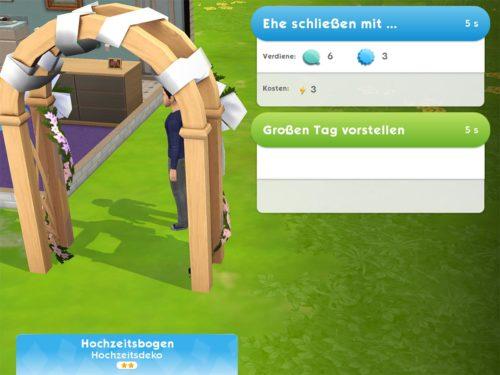 Errichte den Hochzeitsbogen in Sims Mobile und dann kannst du den Punkt Ehe schließen mit auswählen