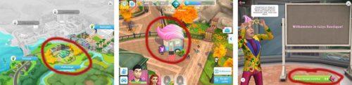 Izzys Boutique wird in Sims Mobile im Verlauf des Spiels freigeschaltet und ist dann in der Parkanlage zu finden