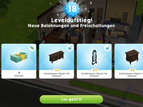 Ein Levelaufstieg verschafft dir in Sims Mobile nicht nur neue Objekte und SimCash, sondern auch die Energie deiner Sims wird wieder voll aufgefüllt
