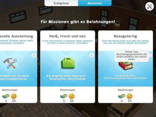 Missionen bringen in Sims Mobile nicht nur Simoleons, sondern vor allem SimCash