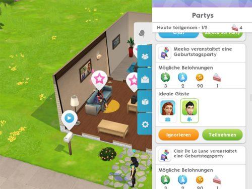 Von deinen Freunden / Nachbarn bekommst du in Sims Mobile Einladungen zu Partys