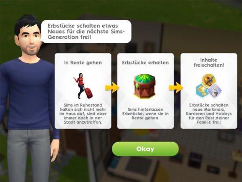 Wenn du deinen Sim in den Ruhestand schickst, erhälst du ein Erbstück, was neue Inhalte in Sims Mobile freischaltet