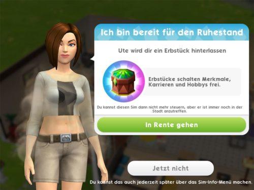 """Tippst du nun """"In Rente gehen"""", verlierst du deinen Sim und den Fortschritt bei den Geschichten dieses Sims, erhälst aber das Erbstück"""