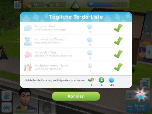 Das Abschließen der täglichen To-do-Liste bringt dir 1 SimCash garantiert