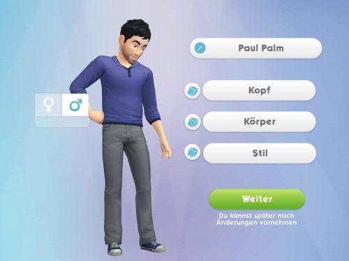 Deinen ersten Sim anlegen: Passe Figur, Haare, Kleidung und mehr an