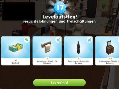 Jeder Levelaufstieg in Sims Mobile bringt dir 4 SimCash ein