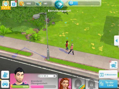 Nun erscheint der andere Sim bei deinem aktuellen Ort und du kannst mit diesem nun interagieren