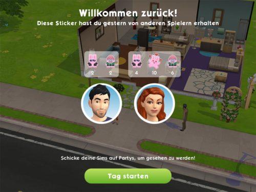 Du erhälst ebenfalls für deine Sims Sticker von anderen Sims Mobile Spielern, was am Ende der Woche Belohnungen bringt