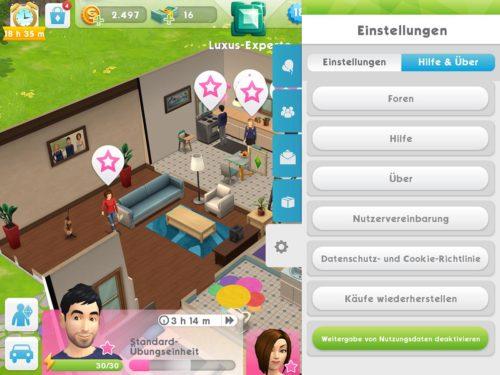 Wenn du ein Problem hast, kannst du den Sims Mobile über das Spiel erreichen, indem du auf Hilfe tippst