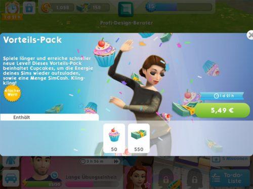 Das Vorteils-Pack gibt es in SIms Mobile nur zu Beginn, bringt dir 550 SimCash und entsprechend die Möglichkeit den vierten Sim-Slot freizuschalten