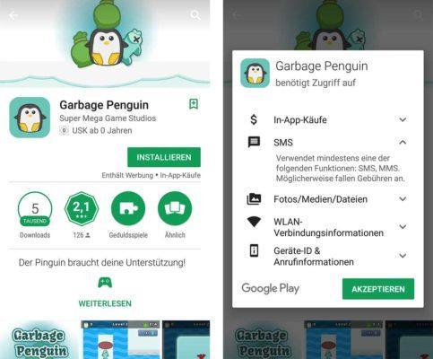 Vorsicht vor der App Garbage Penguin von Super Mega Game Studios
