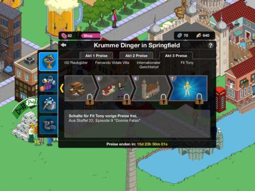 Preise in Akt 3 des Simpsons Springfield Krumme Dinger Event