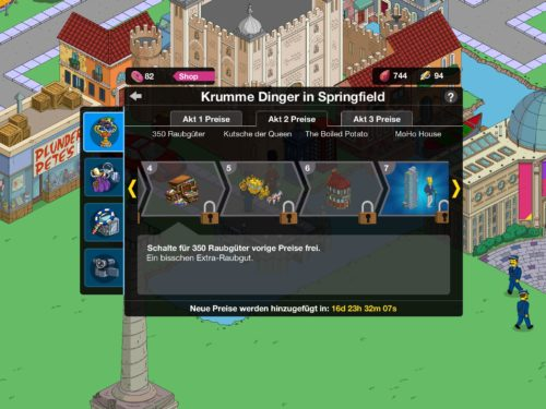 Preise in Akt 2 des Simpsons Springfield Krumme Dinger Event