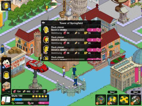 Mit dem 20 Prozent Bonus gibt es mehr Juwelen beim Tower of Springfield