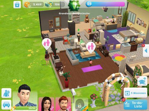 Ein Familienereignis bei Sims Mobile wird mittels des Icons über den Personen angezeigt