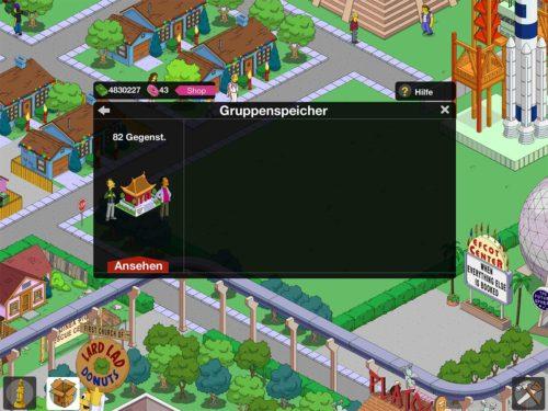 Wähle nun dort die Gruppe aus, die du in Simpsons Springfield platzieren willst