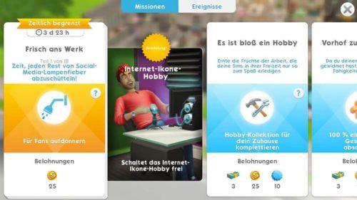 ... oder schließe die 18-teilige Aufgabenreihe in Die Sims Mobile ab