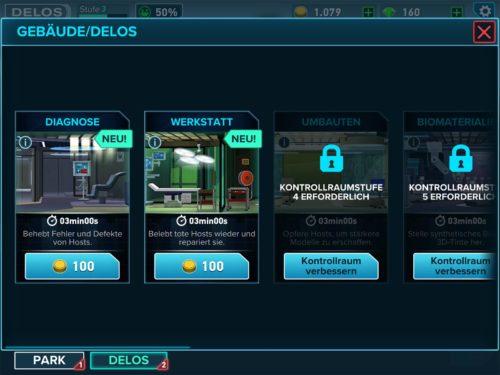 Mit jedem Upgrade des Kontrollzentrum schaltest du neue Räume, Gebäude oder Orte in Westworld frei