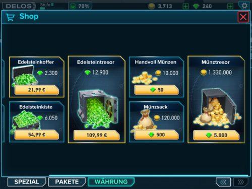 10.000 Münzen kannst du dir in der Westworld App für Edelsteine holen
