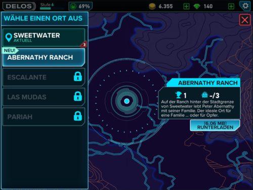 Nach und nach werden weitere Orte in der Westworld App freigeschaltet