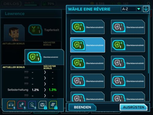 Reverie erhöhen bestimmte Attributwerte. Durch Verbesserungen werden auch mehrere Attribute verbessert