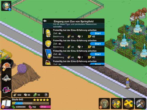 Arbeiten deine Springfield Bewohner bei der Emu-Erfahrung, sammelst du Tierfutter und Zoo-Darlehen, welches du bei Moes Arche Event benötigst