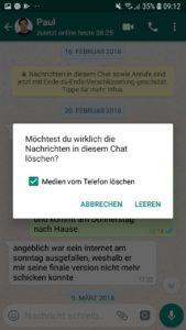 """Hast du den Haken bei """"Medien vom Gerät löschen"""" aktiviert, wenn du den Chatverlauf leerst, sind die Bilder auch von deinem Gerät weg"""