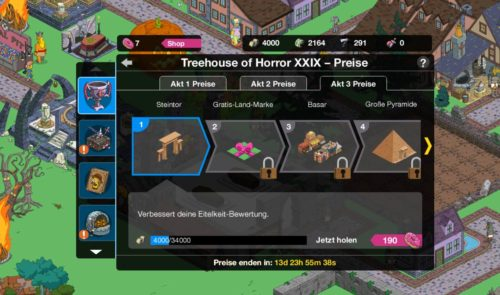 Preise in Akt 3 des Simpsons Springfield Treehouse of Horror Event