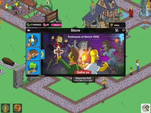 Der Treehouse of Horror Eintrag im Baumenü von Simpsons Springfield ist bei einigen Spielern nicht vorhanden
