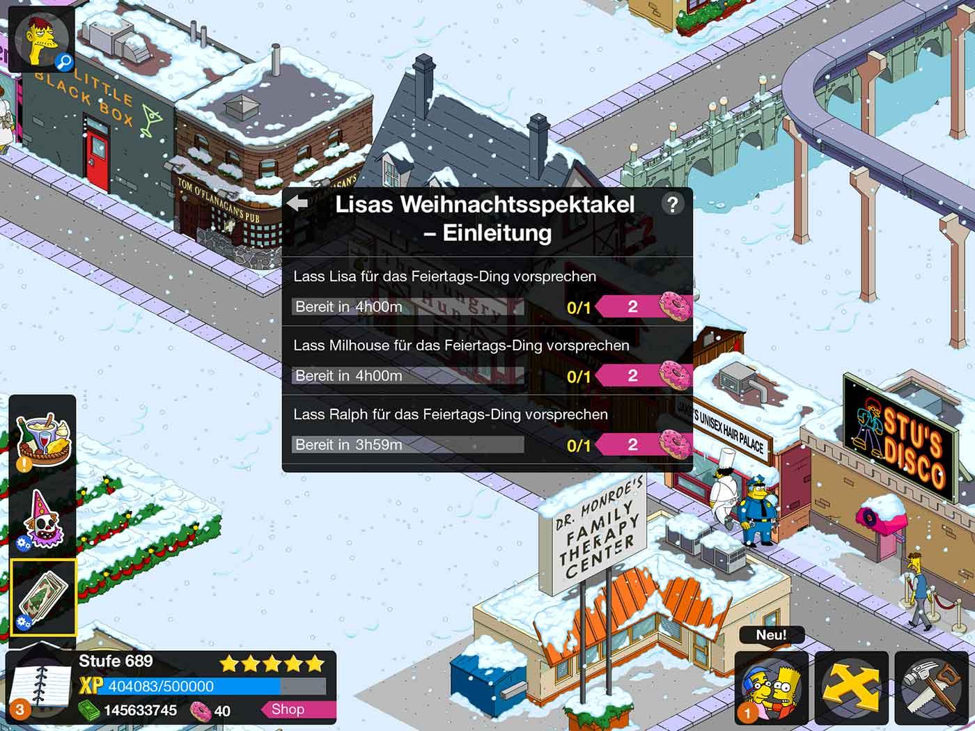 Lisas Erster Weihnachtsbaum.Simpsons Springfield Winter 2018 Event übersicht Tipps Währungen