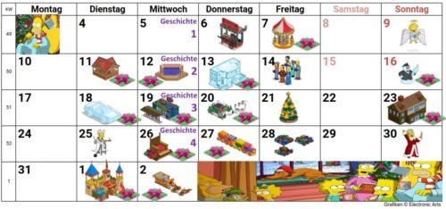 Alle Preise beim Simpsons Springfield Winter 2018 Event als Kalender